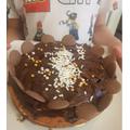 Callum's finished cake - it looks delicious!