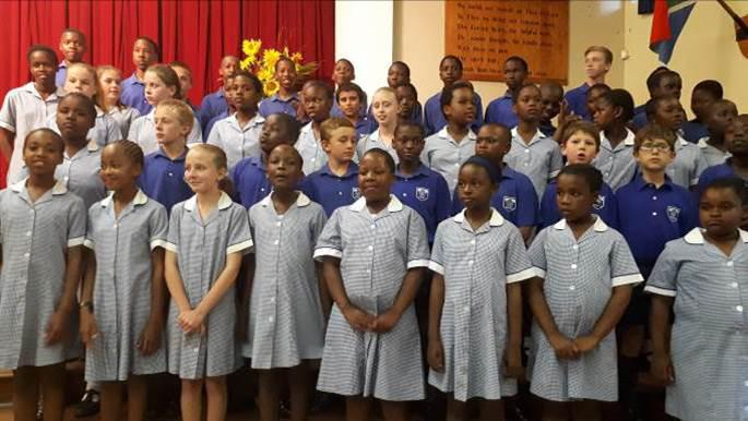 Children from St David's school in assembly.