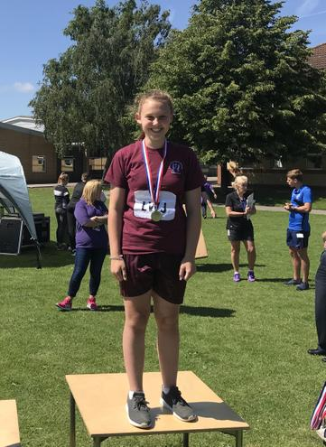Emily wins silver in the javelin