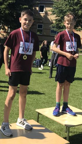 Lewis gold and Leo silver in the Year 5 boys 80m