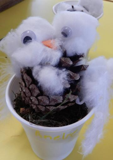 & creating pine cone snowy owlets!