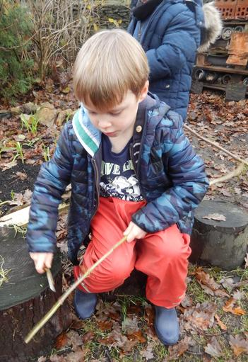 Whittling a cooking stick...