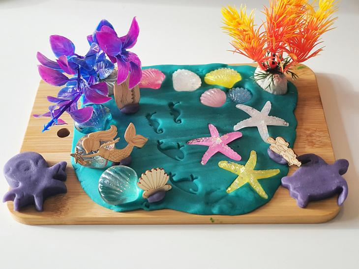 E created a play dough model for under the sea!