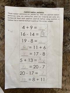 Jumbled number sentences