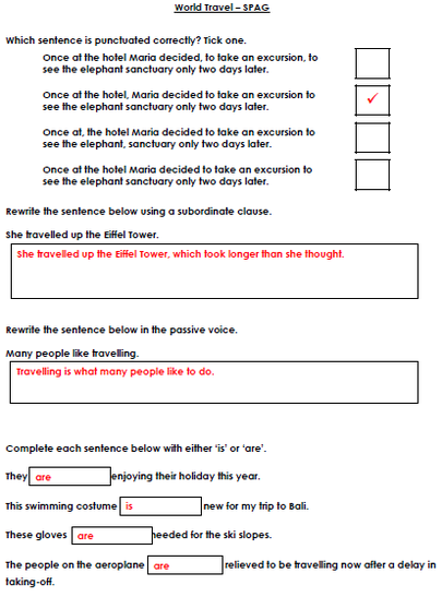 World Travel SPAG answers