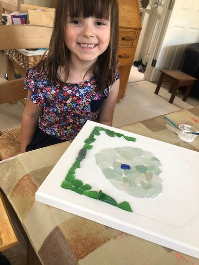Creating a picture using sea glass