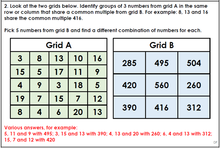 Thursday Maths - CommonMultiples Q2 answers
