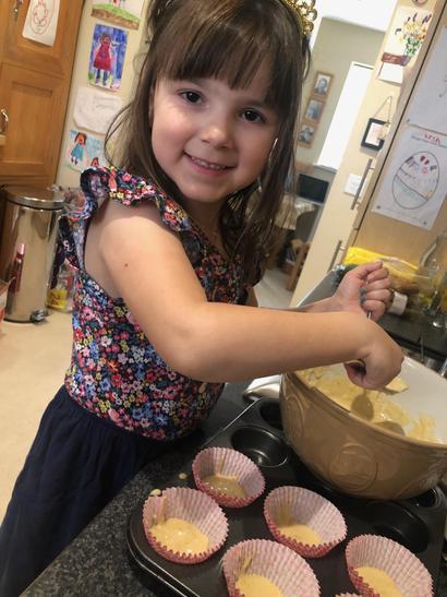 Making banana and chocolate muffins