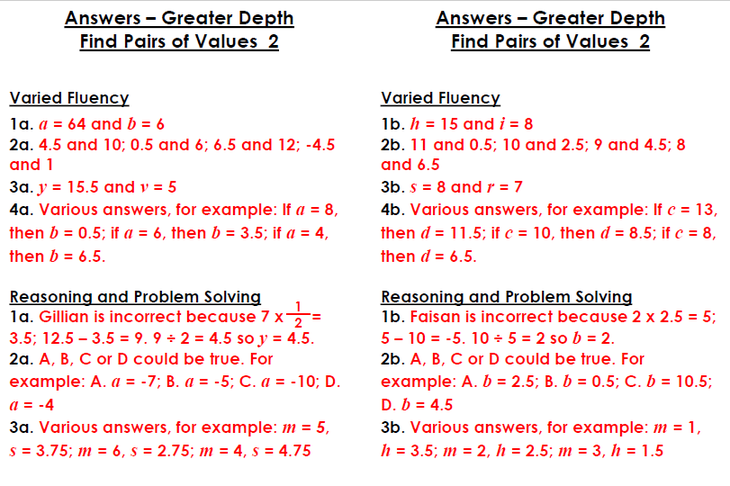 Find Pairs of Values GreaterDepth answers