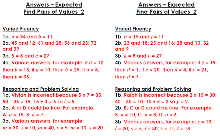 Find Pairs of Values Expected answers