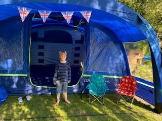 Tent decorated for VE Day!