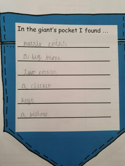 What would be found in a giant's pocket?