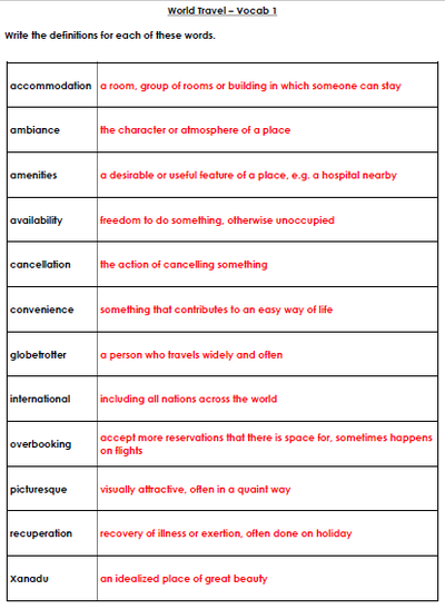 World Travel Vocabulary Definition answers