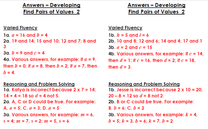 Find Pairs of Values Developing answers