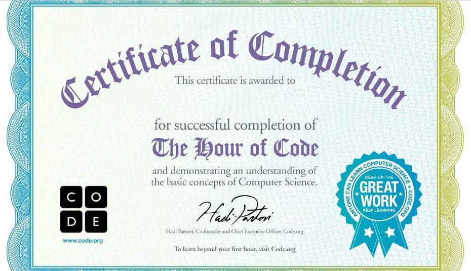 Kara's Hour of Code Certificate
