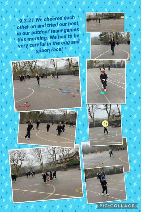 The children really enjoyed working together in the team races this morning.
