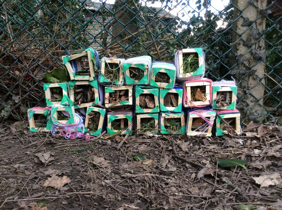 The front view of our Year 3/4 bug hotel.