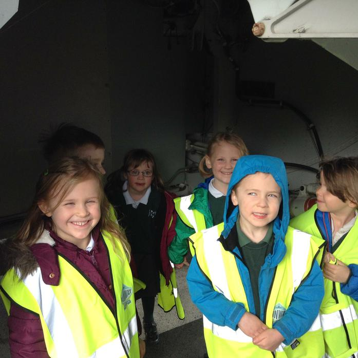 This is some of us underneath one of the planes.