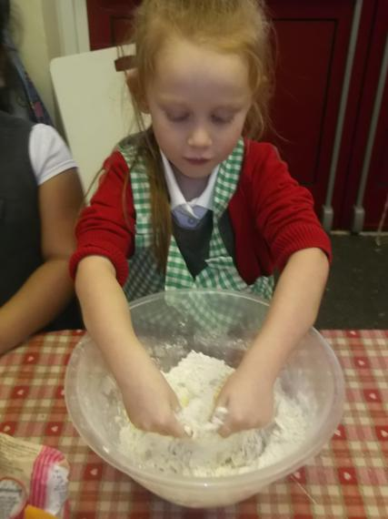 The children began with mixing the ingredients