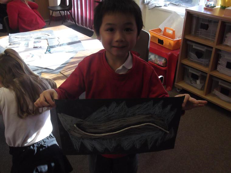 Look at our chalk Chinese dragons!