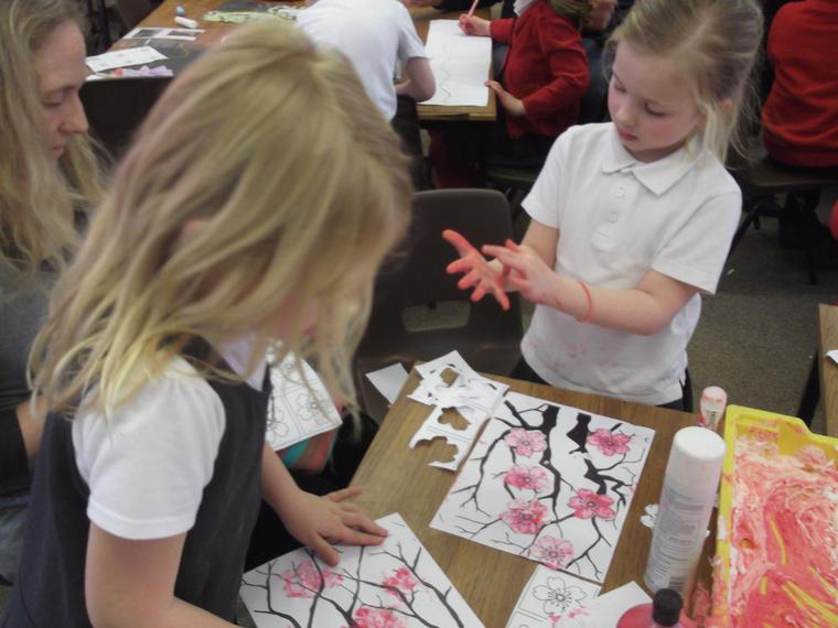 We had shaving foam for blossom tree pictures too!