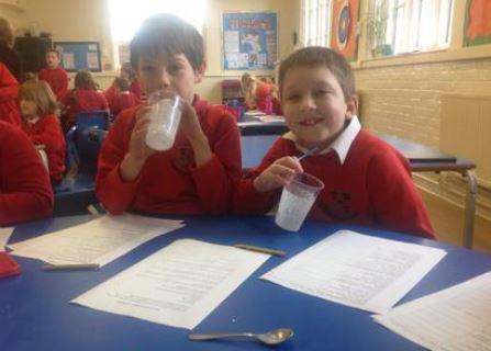 Following instructions to make yummy milkshakes!