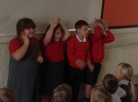 Acting and retelling the story.