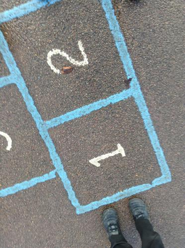 We looked for the hopscotch.