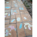 Chalk drawings on the patio