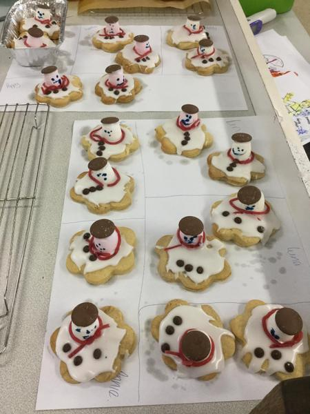We made melting snowmen biscuits