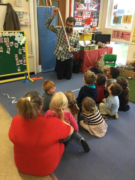 We had a story teller visit us for World book day.