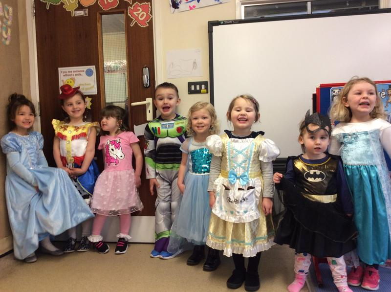World Book Day, we came to pre-school dressed up as our favourite characters
