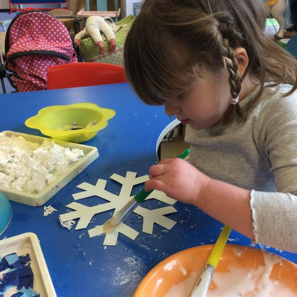 Everyone worked really hard to make their snowflakes look pretty.