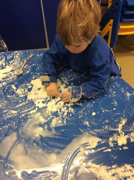 Messy snow play