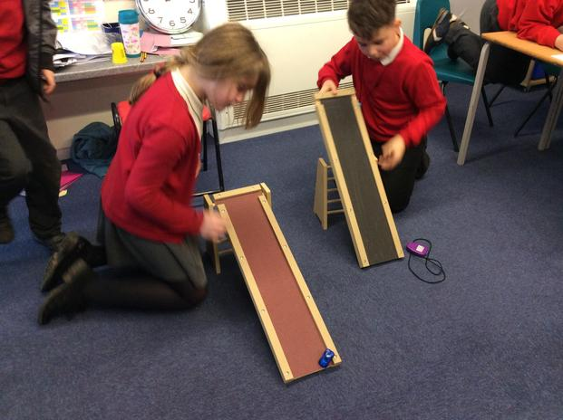 During the forces topic, Year 5 investigate the effect of friction on a car.