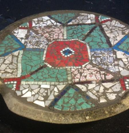 Silver Birch's finished mosaic in the raincatcher outside their classroom.