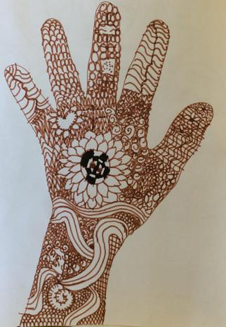 A Zentangle design hand inspired by Mehindi or Henna Hand Art
