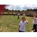 Teamwork playing football