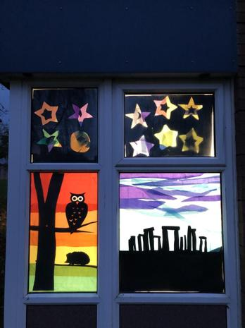 Rowan's window inspired by their Topic Stone and Bronze Age