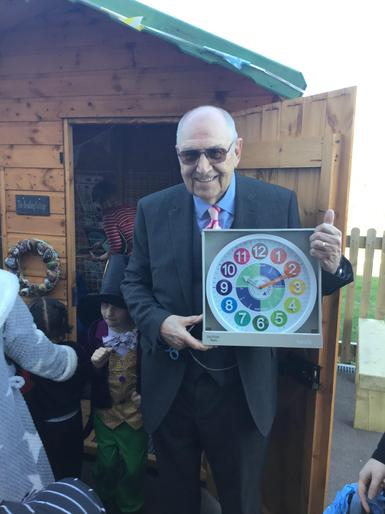Mr.David Hill Lawrence View's chair of governors officially opened our reading cottage on March 6th 2020. Mrs Christine Hill kindly donated a beautiful clock to be displayed in the reading cottage.