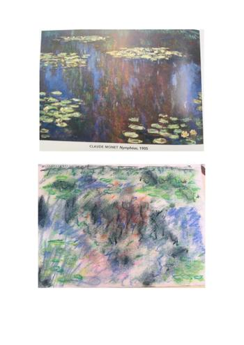 Zoe used lovely chalks to recrate Monet.