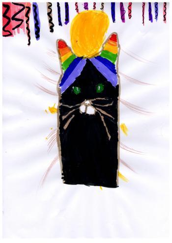 Amelie's colourful print.