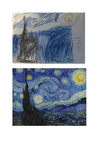Tyler used coloured pencils to recreate this Starry Night.