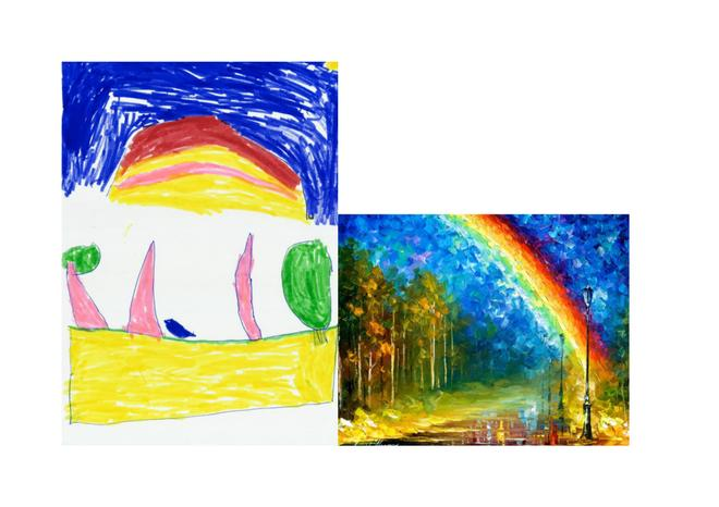 Maxwell used some bright colours to recrate Afremov's famous Rainbow