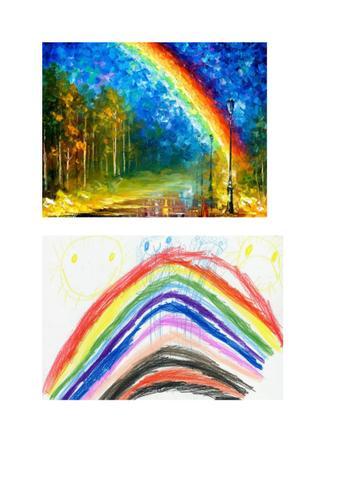 Joseph focused on the beautiful colours of the rainbow.