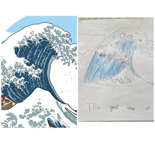 Joseph O used pencils to recreate The Great Wave.