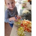 She carefully chopped everything up!