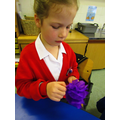 Working with tissue papers to layer our poppies