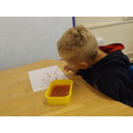 We added food colouring to make bubble art
