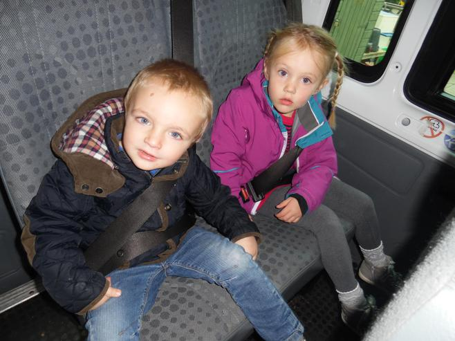 Travelling on the School Mini Bus.